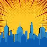 Explosiv mall för komisk blå cityscape vektor illustrationer