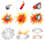 Explosive. Icons and the detonations Royalty Free Stock Images