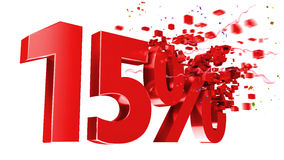 Explosive 15 percent off on white background. Explosive 15 percent off isolated on white background Stock Photo