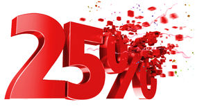 Explosive 25 percent off on white background Stock Images