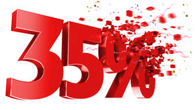 Explosive 35 Percent Off On White Background Royalty Free Stock Photo