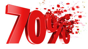 Explosive 70 percent off on white background Royalty Free Stock Image