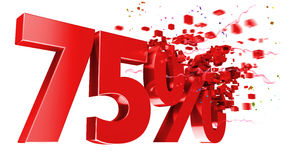 Explosive 75 percent off on white background Stock Images