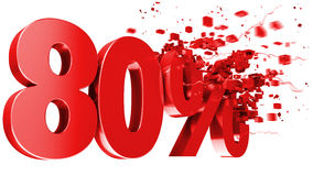 Explosive 80 percent off on white background Stock Images