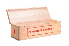 Explosive cargo on a white background. An open wooden box with dangerous explosives. A box of explosives on a white background stock photography