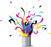 Explosive CMYK paint Royalty Free Stock Photo