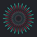 Explosive colourful firework. Shine rays on dark background. Holiday firework template. Vector illustration Stock Photos