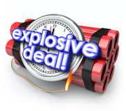 Explosive Deals Bomb Dynamite Special Sale Clearance Price. Explosive Deals words on a ticking time bomb with clock and dynamite to illustrate the urgency of Stock Photography