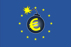 Explosive Euro Crisis. Concept sign of the current debt crisis within the Euro Countries Stock Images