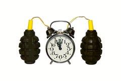 Explosive excitacion alarm clok detonator  bomb Royalty Free Stock Image