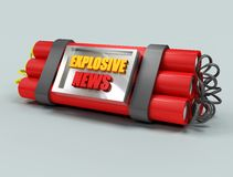Explosive news. The most explosive news represented by a baited bomb Stock Photo