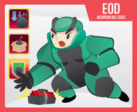 Explosive Ordnance Disposal (EOD). Doll of Explosive Ordnance Disposal (EOD) and his skill Stock Photography