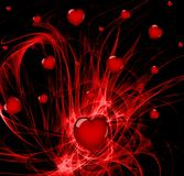 Explosive Passion. Lots of hearts over a red abstract background Royalty Free Stock Photography