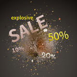 Explosive sale. Vector illustration. Explosive sale. Sale design template vector with explosion cloud of pieces Royalty Free Stock Photos