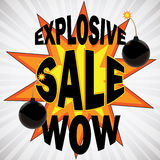 Explosive sale wow awareness design with bomb illustration Stock Image