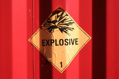 Explosive sign. In yellow and black on a red container Royalty Free Stock Image