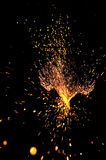 Explosive sparks. Explosive shower of sparks from a welding torch Stock Images