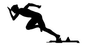 Explosive start woman runner. Sprinter from starting blocks vector illustration