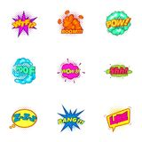 Explosive sticker with pop art shadow icons set Stock Images