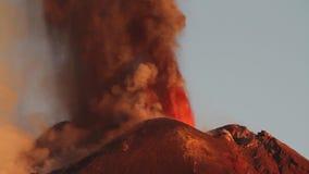 Explosive volcanic eruption. Violent eruption of the volcano Etna - shot at dawn (Southast Crater - October 26, 2013 stock footage