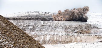 Explosive works on open pit Stock Photos