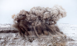 Explosive works on open pit Royalty Free Stock Photo