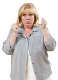 Explosively angry woman Royalty Free Stock Image