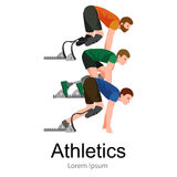 Explosiver Anfang des Athleten mit Handikap am Stadion Lizenzfreie Stockbilder