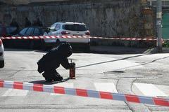 Explosiver Experte, Bombe, Bombenbläser lizenzfreies stockbild