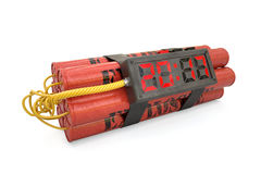 Explosives with alarm clock 2017 detonator isolated on white bac Royalty Free Stock Image