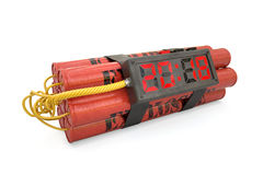 Explosives with alarm clock 2018 detonator isolated on white bac Stock Images