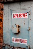 Explosives. A container that nobody dares too touch Stock Photos