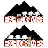 Explosives. Dynamite on a background of mountains of coal and coal trolleys. Illustration on white background Royalty Free Stock Photography