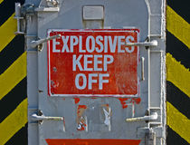 Explosives keef off, warning message on signboard, Stock Images