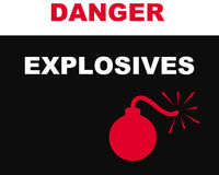 Explosives symbol. Closeup of warning sign with explosives symbol Stock Photography