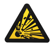 Explosives warning sign. Isolated on white Royalty Free Stock Image