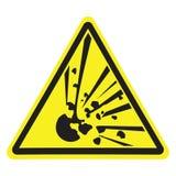 explosivo Peligro amonestador Triángulo amarillo Muestra para el collage en el fondo blanco libre illustration
