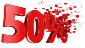 Explosivstoff 50 Prozent weg auf weißem Hintergrund Stockfoto