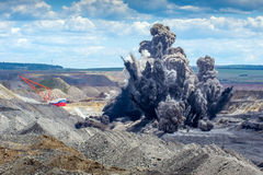 Explosure on open pit Royalty Free Stock Photos