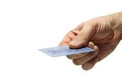 Explotación agrícola de la mano de la tarjeta de crédito Imágenes de archivo libres de regalías