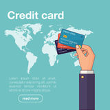Explotación agrícola de la mano de la tarjeta de crédito Ilustración del vector libre illustration