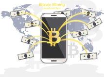 Explotación minera de Bitcoin del vector de Digitaces del teléfono Transferencias de la cartera de Cryptocurrency en conceptos de stock de ilustración