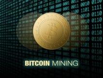 Explotación minera de Bitcoin, ejemplo conceptual Dinero de Digitaces Diseño de concepto de cryptocurrency Fotos de archivo libres de regalías