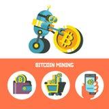 Explotación minera de Bitcoin El robot lindo produce bitcoins Vector Illustratio stock de ilustración