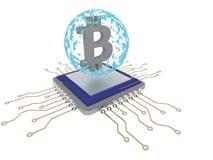 Explotación minera de Bitcoin en la CPU con la esfera azul 3d rinden Foto de archivo