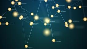 Explotación minera de Bitcoin, símbolos conectados de movimiento lento del bitcoin ilustración del vector