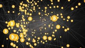 Explotación minera de Bitcoin, símbolos conectados de mudanza del bitcoin, vídeo 4k stock de ilustración