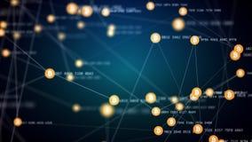 Explotación minera de Bitcoin, símbolos conectados de mudanza del bitcoin, vídeo 4k libre illustration