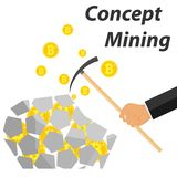 Explotación minera de Bitcoin Una mano con una selección marca una piedra con los bitcoins Extracción de la moneda crypto stock de ilustración