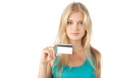 Explotación agrícola de la muchacha de la tarjeta de crédito Imágenes de archivo libres de regalías